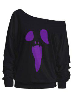Halloween Ghost Skew Neck Sweatshirt - Purple 2xl