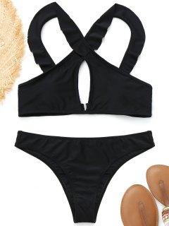 Rüschen Vorne Kreuz Bikini - Schwarz L