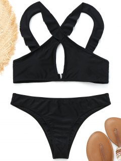 Rüschen Vorne Kreuz Bikini - Schwarz S