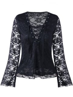 Lace V Neck Lace Up Blouse - Black L