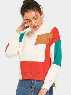Contrast Side Slit High Low Sweater - Multi