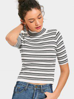 High Neck Striped Knitted Top - Stripe