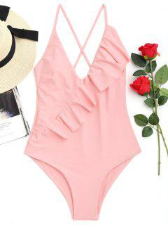 Cross Back Ruffles One Piece Swimwear - Shallow Pink L