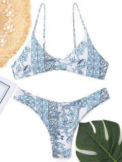 Cami Printed Thong Bikini - Blue L