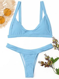 Gepolsterter Tanga Bikini Set - Azurblau  L