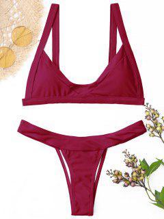 Conjunto De Bikini Con Tanga Acolchada - Vino Rojo M