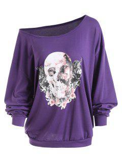 Camiseta Con Cuello Redondo Skew De Skull Rose De Halloween - Púrpura 2xl