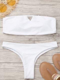 Tanga Gepolsterter Bandeau-Bikini - Weiß S