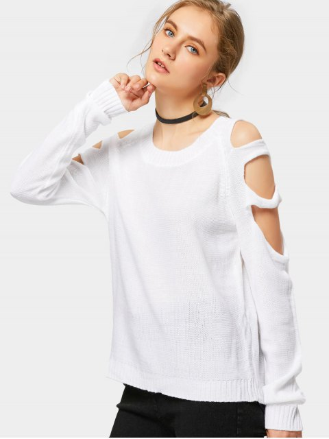 buy Crew Neck Cut Out Pullover Sweater - WHITE L Mobile