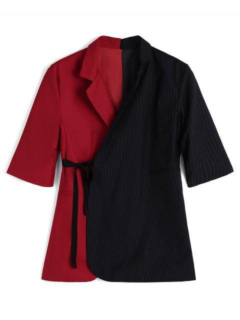 Blazer Contrastant Enveloppant à Rayures - Bleu et Rouge S Mobile