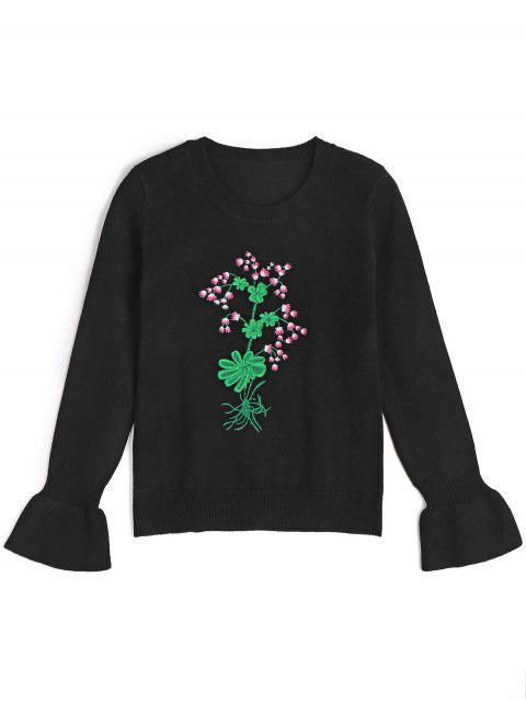 women's Ruffled Sleeve Embroidered Pullover Sweater - BLACK S Mobile