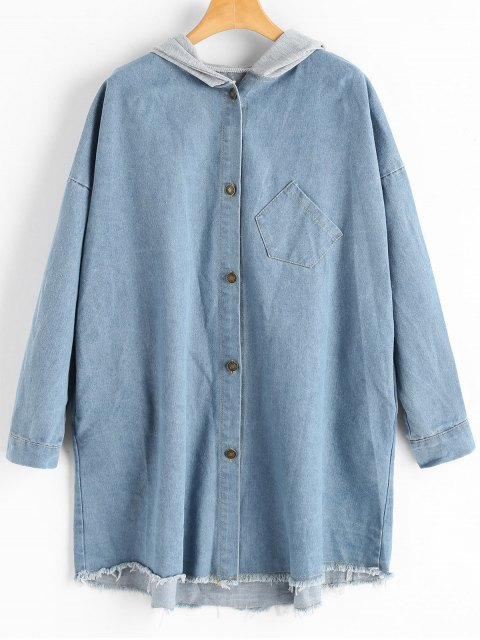 affordable Frayed Hem Pocket Hooded Denim Coat - LIGHT BLUE ONE SIZE Mobile
