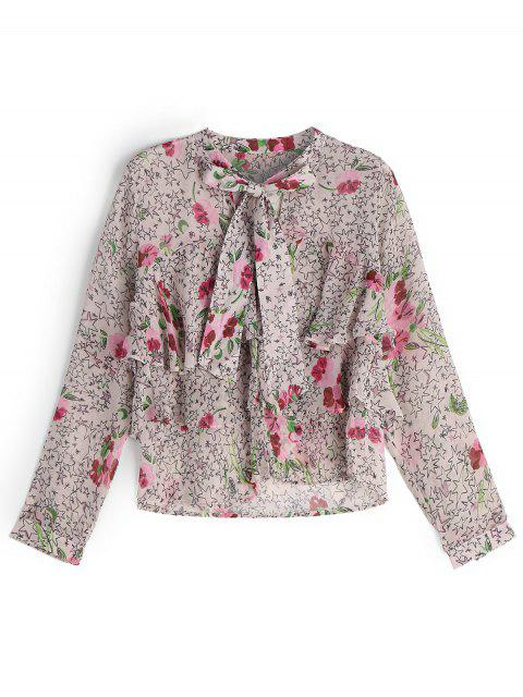 hot Bowknot Layered Star Floral Blouse - FLORAL S Mobile