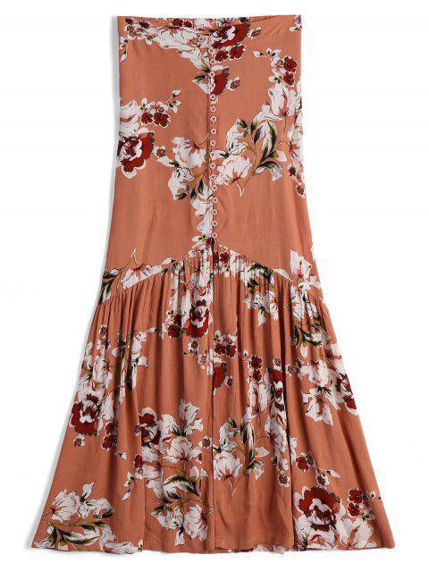 Vorne Schlitz Floral Button Up A Line Rock - Blumen M Mobile