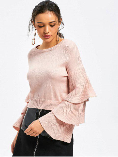 hot Drop Shoulder Layered Sleeve Sweater - PINK ONE SIZE Mobile