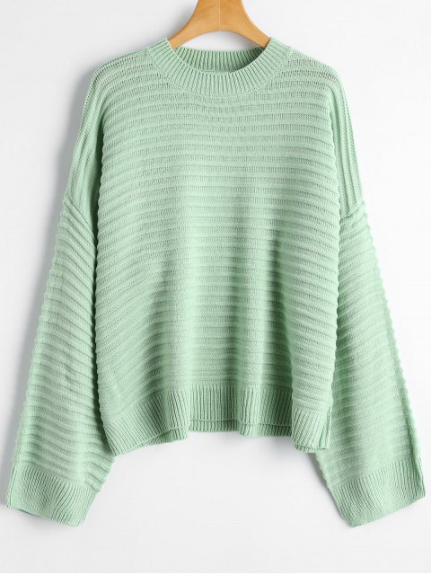 unique Drop Shoulder Plain Sweater - LIGHT GREEN ONE SIZE Mobile