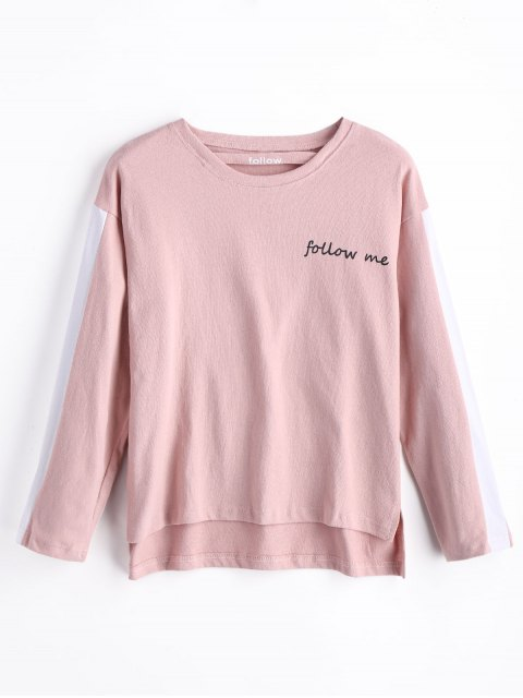 affordable Follow Me Graphic Sweatshirt - PINK S Mobile