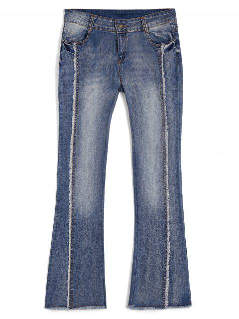 women's Bleach Wash Ninth Frayed Boot Cut Jeans - DENIM BLUE M Mobile