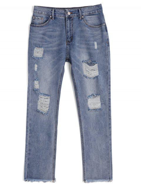 fancy Destroyed Frayed Ninth Pencil Jeanss - DENIM BLUE S Mobile