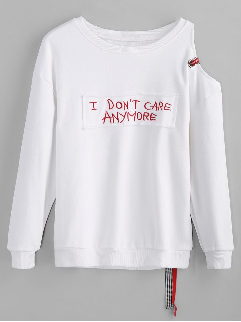 buy Letter Applique Cold Shoulder Sweatshirt - WHITE S Mobile