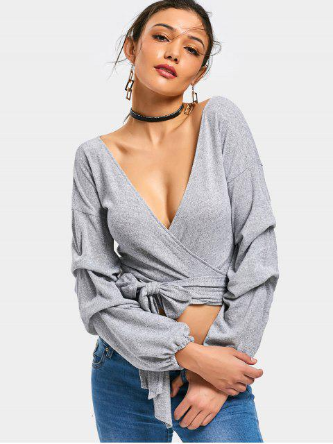outfits Plunging Neck Knitted Crop Wrap Top - GRAY S Mobile