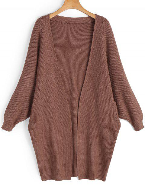 sale Batwing Open Front Cardigan - COFFEE BROWN ONE SIZE Mobile