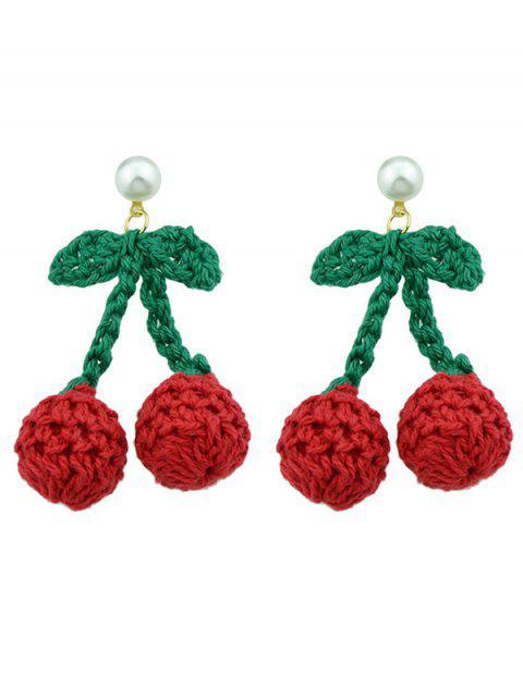 Boucles d'oreilles tricotées en forme de cerisier - Rouge  Mobile