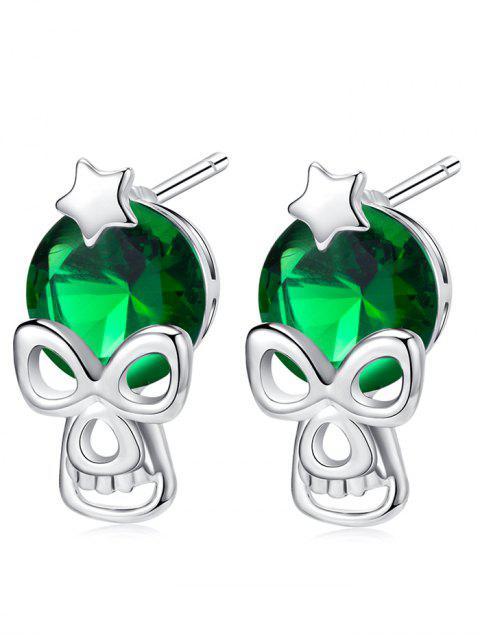 Pendientes de perno prisionero del Rhinestone de la estrella de Halloween - Verde  Mobile