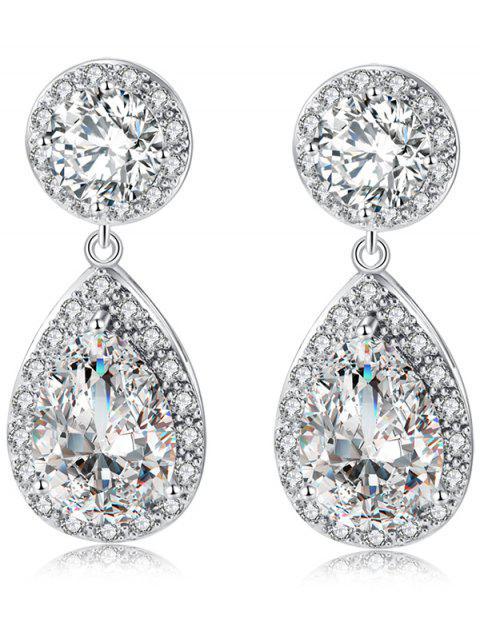 Retro Pendientes de gota de lágrima de diamantes - Plata  Mobile