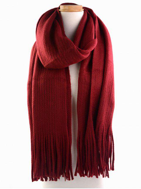 fancy Retro Soft Fringed Blanket Long Shawl Scarf - WINE RED  Mobile