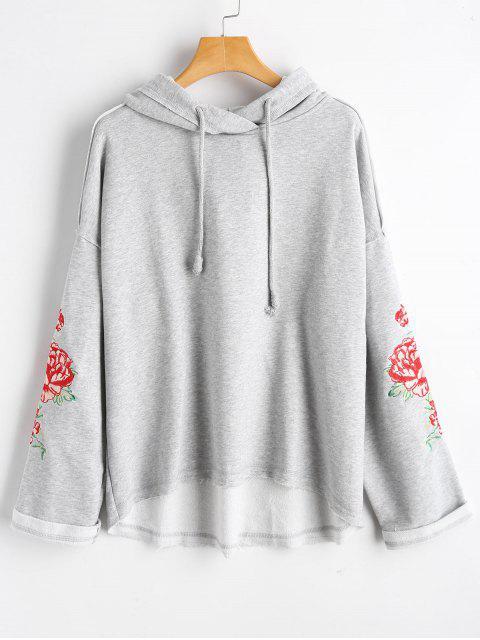 Sudadera con capucha bordada de la flor - Gris S Mobile