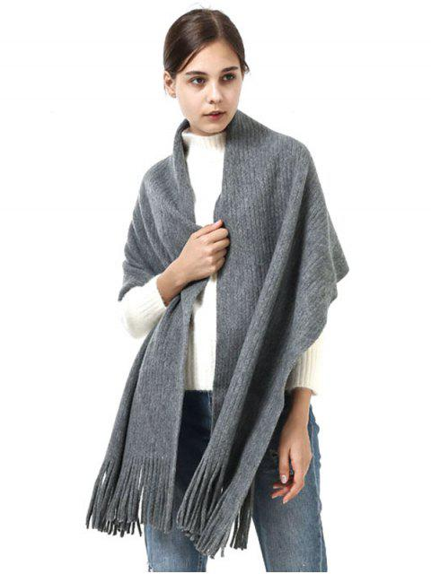womens Retro Soft Fringed Blanket Long Shawl Scarf - LIGHT GRAY  Mobile