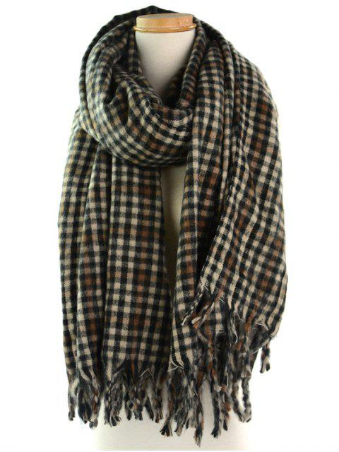 online Soft Small Check Pattern Fringe Shawl Scarf - MULTI  Mobile