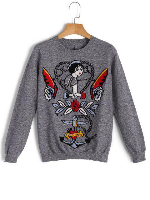 Suéter de dibujos animados estrella jacquard suéter - Gris L Mobile