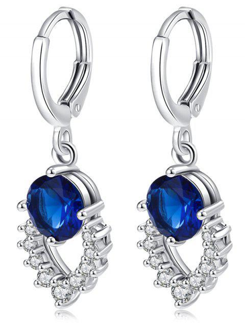 Retro Artificial Gemstone Hollow Out Dangle Earrings - Bleu  Mobile