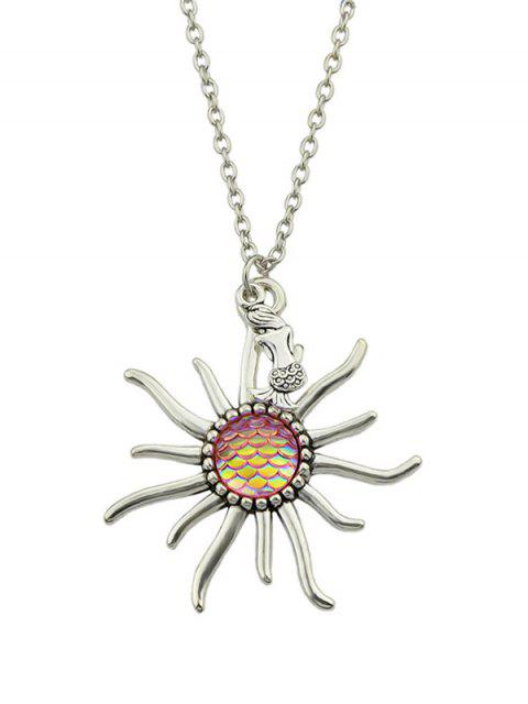 best Mermaid Sunflower Fish Scales Necklace - PINK  Mobile