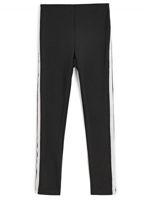 Skinny Ribbons Trims Pencil Pantalones - Negro S Mobile