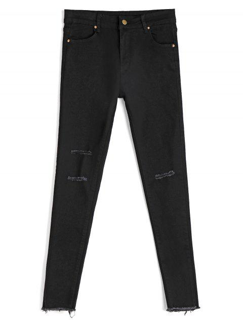 trendy Skinny Ninth Destroyed Pencil Jeans - BLACK S Mobile