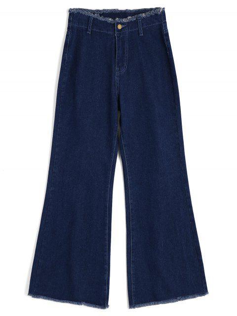 Jeans à Jambes Larges Usé à Taille Haute - Bleu Toile de Jean S Mobile