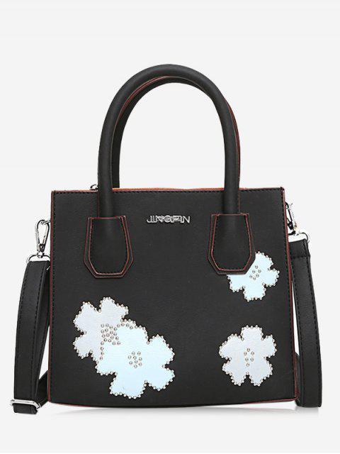 fancy Letter Flower Lock Handbag - BLACK  Mobile