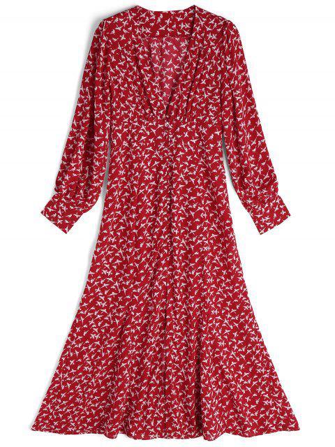 Langes Hülsen Vogel Vorne Schlitz Maxi Kleid - Rot und Weiß L Mobile