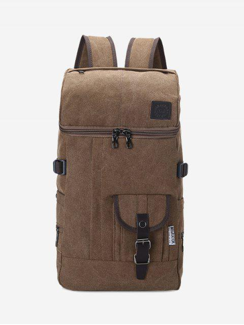 Zip Buckle Straps Backpack - Café  Mobile