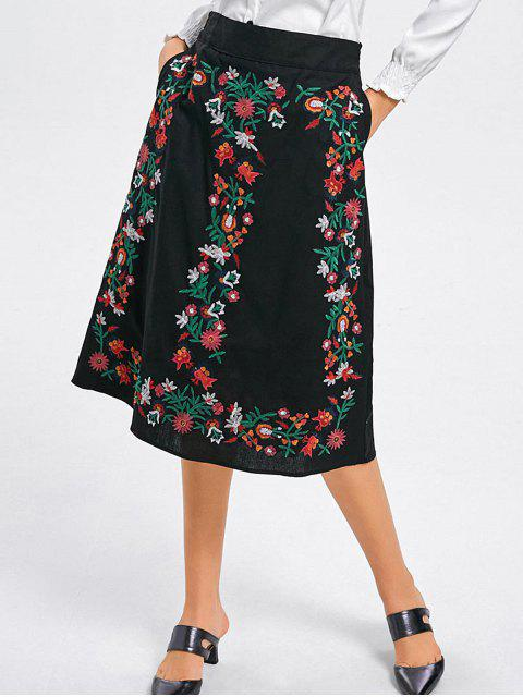 shop Floral Embroidered A Line Midi Skirt - BLACK M Mobile