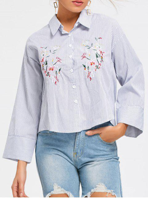 shops Striped Embroidery Button Up Shirt - STRIPE M Mobile