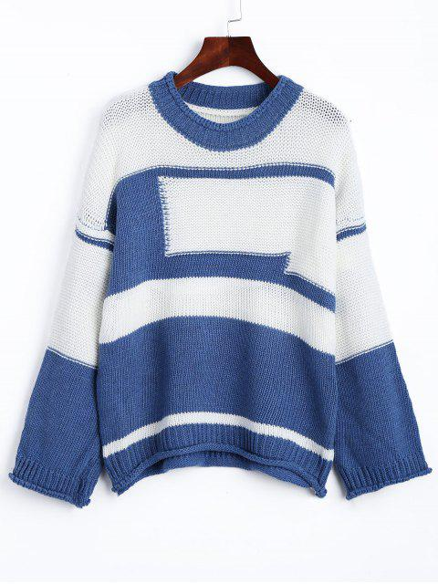fancy Drop Shoulder Two Tone Jumper Sweater - BLUE AND WHITE ONE SIZE Mobile