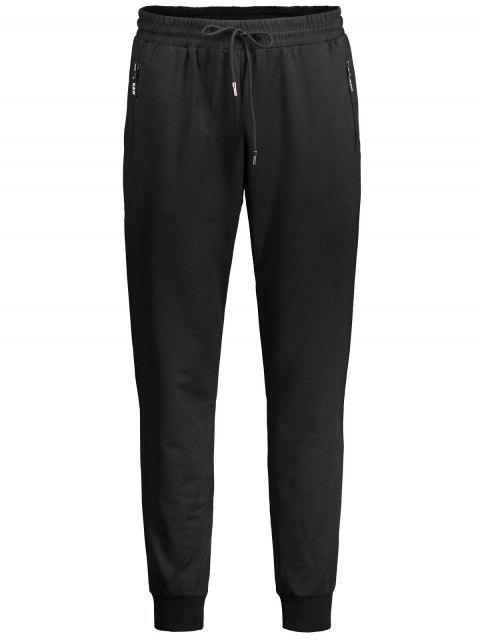 latest Drawstring Zipper Pocket Jogger Pants - BLACK XL Mobile