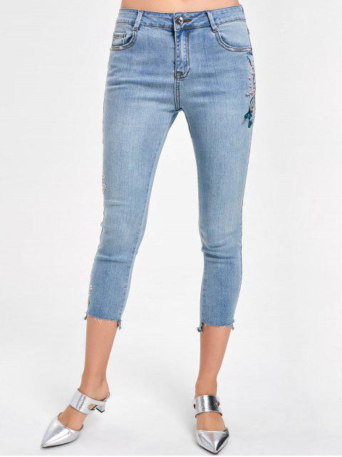 sale Embroidery Faded Capri Jeans - DENIM BLUE XL Mobile