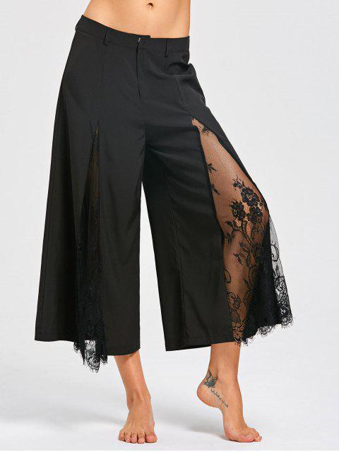 Pantalones anchos de la pierna de la inserción del cordón de la pestaña - Negro M Mobile