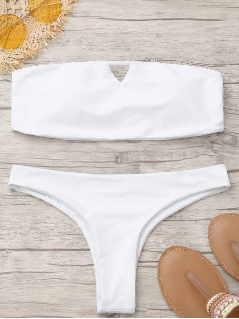 outfits Thong Padded Bandeau Bikini - WHITE L Mobile