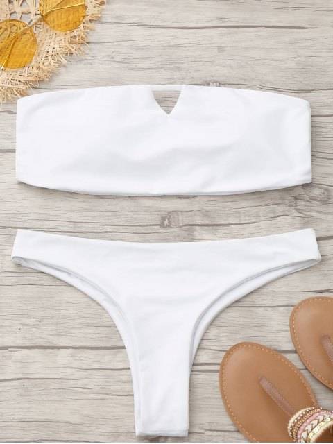 Bikini Bandeau Thong Rembourré - Blanc S Mobile
